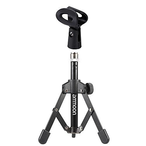ammoon Treppiedi Microfono Stand per Scrivania e Tavolo Mini Pieghevole Nero MS-12 (Con clip)
