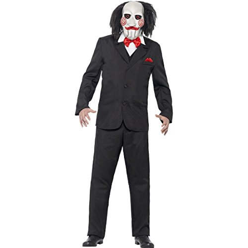 Horror Filmkostüm Saw Kostüm mit Maske M 48/50 Killer Horrorkostüm Mörder Puppenkostüm Thriller Film Halloweenkostüm Monster Faschingskostüm Halloween Kostüme Herren Gruselig
