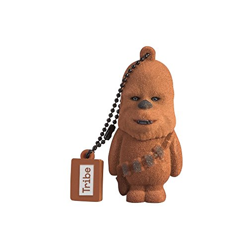 Tribe Disney Star Wars Chewbacca - Memoria USB 2.0 DE 16 GB Pendrive Flash Drive de Goma con Llavero, Color Marrón