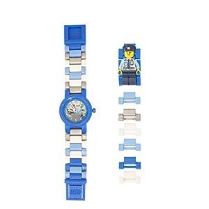 Armbanduhr Lego City – Police Officer, inklusive 12 zusätzlichen Armbandgliedern, Lego Minifigur im Armband integriert, analoges Ziffernblatt, kratzfestes Acrylglas