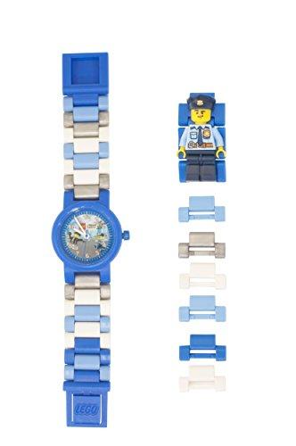 LEGO City 8021193 Polizist Kinder-Armbanduhr mit Minifigur und Gliederarmband zum Zusammenbauen , blau/weiß , Kunststoff , Gehäusedurchmesser 25mm , analoge Quarzuhr , Junge/ Mädchen , offiziell