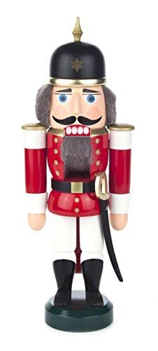 Nussknacker Figur Soldat rot-weiß von DREGENO SEIFFEN 27 cm - Original erzgebirgische Handarbeit, stimmungsvolle Weihnachts-Dekoration (Nussknacker Weihnachten Dekoration)