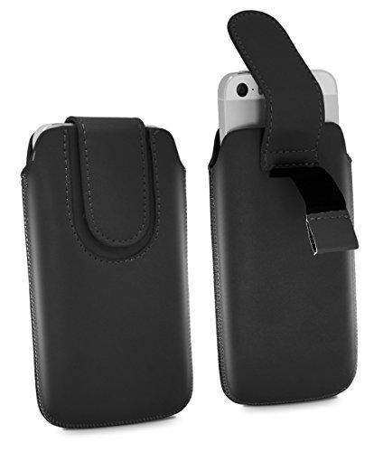 Nokia 215 Pull Tab - Hohe Qualität PU Leder Strap Zieh Band Pull Tab Slip Beutel Hülle Abdeckung Cover Tasche mit Flip Verschluss Magnetisch Knopf ( Schwarz ) von LOLO®