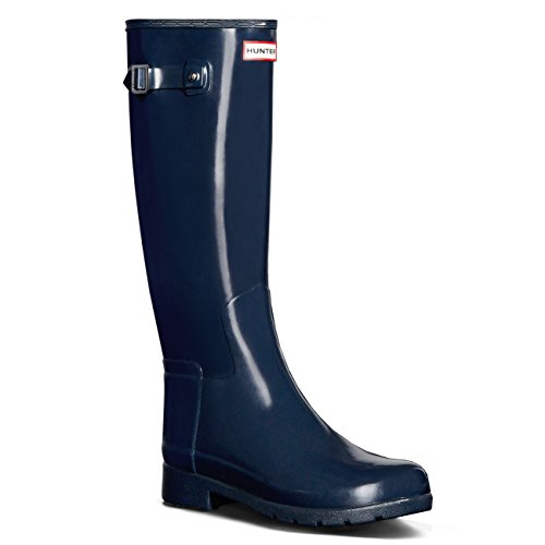 Donna Hunter Original Refined Tall Gloss La Neve Pioggia Wellingtons Stivali - Marina - 40/41