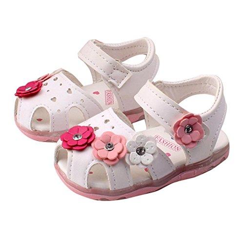 Chaussures Bébé, Reaso Enfant en Bas âge Fleurs Nouvelles Filles Lighted Soft-Soled Princesse Sandales Chaussures (17, Blanc)