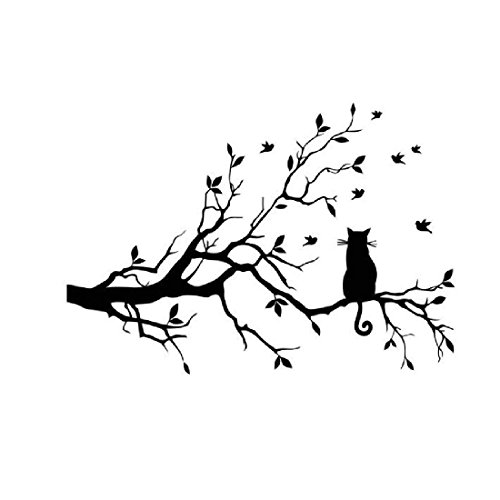Pegatinas decorativas para pared, con diseño de gato y ramas, fácile
