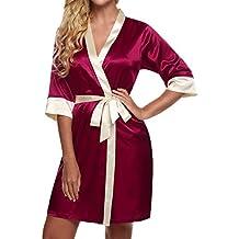 Hibote Novia Boda Corto Albornoz Mujers Kimono Satinado Encaje Bata de baño Ropa de Noche Femenina