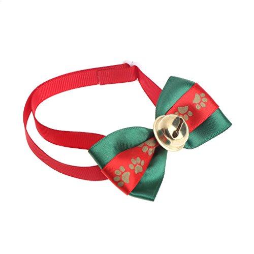 Qiuxiaoaa Hundehalsband Halskette Weihnachten Weihnachtsmann Hund Katze Welpen Bell Fliege einstellbar identifizieren Krawatte Fußabdruck Glocke