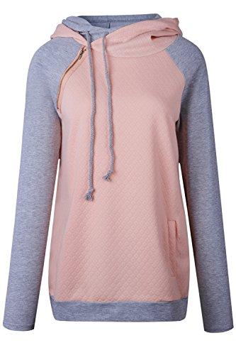 Les Femmes L'hiver Polaire Plus Taille Occasionnels Rayures Pulls À Capuche Tops Avec Poches pink