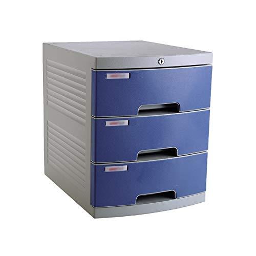 Desktop Aktenschrank 4-lagig , Mit Schloss Kunststoffschublade Informationsbüro A4 Aufbewahrung Blau 11.9in * 15.3in * 14.6in (Color : B1, Size : 3-Layer) -