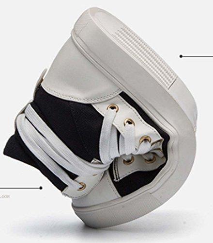 Scarpe Casual Da Uomo Hi-top Sneaker Canvas Scarpe Stringate Piatte Scarpe Da Skateboard Black