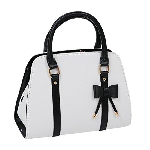 SODIAL(R) Heisse Damen Vintage Hobo Messenger Handtaschen Umhaengetasche tragbar Tasche mit Schleife Weiss (Hobo-schleife)