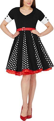 BlackButterfly 'Kelly' Vintage Polka-Dots Swingkleid Schwarz