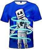 FLYCHEN Camiseta para Niños 3D Impresión Gráfica DJ Música Electrónica Cool Hip Hop Boy's Fantastic Shirt - Azul Oscuro 3150 - M