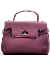 Hopping Street Stylish Elegance Fashion Purple Color Faux Leather Handbag for Women