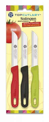Blister of 3Knives Peelers of different colors 17343, Top Cutlery, Line Yoana, Made in Germany, 17366