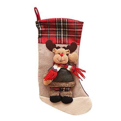 rumpf Sackleinen Gitter Weihnachtsstrumpf Weihnachtszubehör Weihnachtsfeier Zubehör Socken mit Schneeflocken Weihnachtssocken Geschenkbeutel Deko Anhänger (Elch) ()