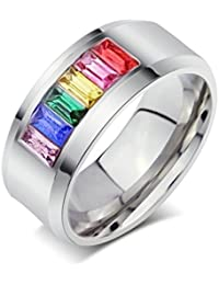 Daesar Joyería Anillo Acero Inoxidable de Mujer Hombre, Boda Sortija Arco Iris Orgullo Gay LGBT Banda Venda para Gays & Lesbianas
