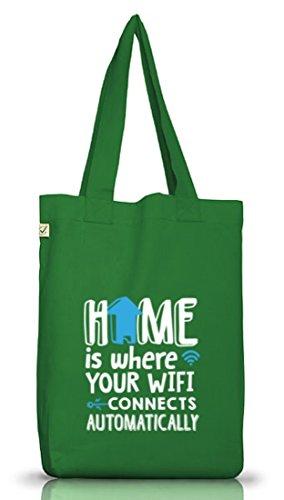 Shirtstreet24, Wifi Domestico, Jutebeutel Stoff Tasche Earth Positivo (taglia Unica) Verde Muschio