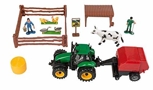 Idena 40016Tractor Juego balas de paja colgante, con valla, pollos y patos, una vaca y dos personas de figuras