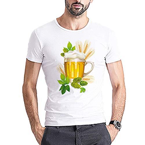 Männer Kostüm Wiesn - Chejarirty 3D T-Shirt Bayerische Bierfest Herren Junge Kurze Ärmel Männer Oktoberfest Kostüm Funshirt Bier Bedruckt Oberteile Comfort Bluse Sweatshirt Sommer Lässige Wiesn Tees (M, Weiß)