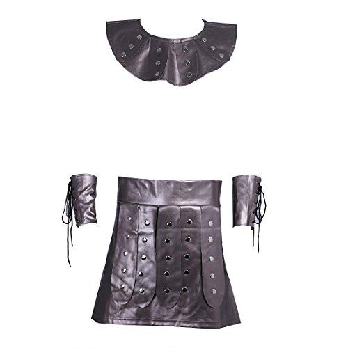 Agoky Römischer Gladiator Kostüm Herren Kragen + Arm Stulpen + Rock Party Karneval Fasching Outfits Verkleidung Coffee L