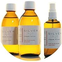 Preisvergleich für PureSilverH2O 600ml Kolloidales Silber (2X 250ml/10ppm) + Spray (100ml/10ppm) Reinheit & Qualität seit 2012