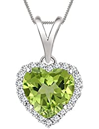 "Silvernshine 7mm Peridot & Sim Diamond Halo Heart Pendant 18"" Chain In 14K White Gold Fn"