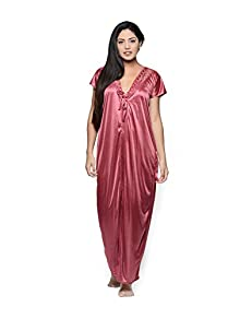 Women s Satin Two Piece Nighty (Pink Free Size) 7c20051f8