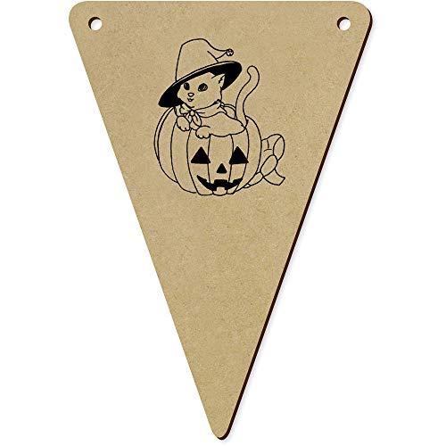 Azeeda 5 x 140mm 'Halloween Katze' Wimpel / Banner aus Holz (BN00054414)