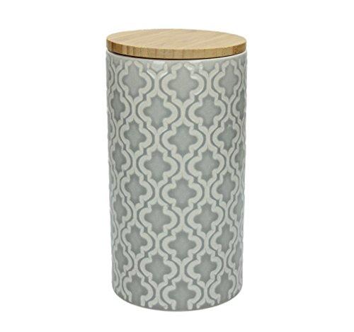 Boîte de conservation kONIA 1270 ml-hauteur : 19 cm, céramique, gris/blanc, couverture beaux structure avec un superbe motif de tOGNANA