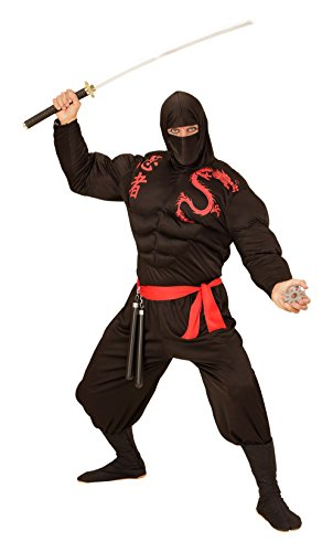 Widmann 00524 - Erwachsenenkostüm muskulöser Ninja, Muskelshirt, Sturmhaube, Hose und Gürtel, schwarz