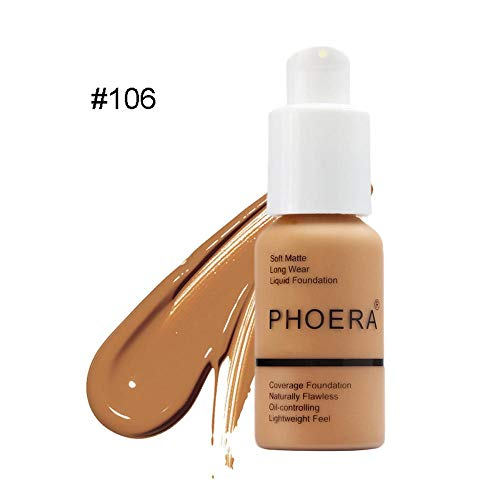 Volwco Neuer 30ml PHOERA Matt Oil Control Concealer Liquid Foundation,Flüssigmatt Full Coverage Concealer Cover Shadows Skin Care Foundation Oil Control Erhellen Sie Den Langlebigen Shade -