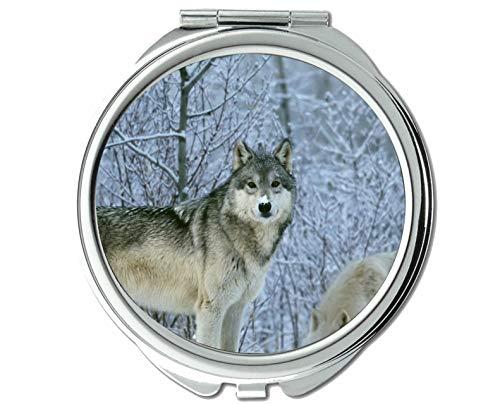 Yanteng Spiegel, Kleiner Spiegel, Animal Wolf Damen Taschenspiegel, 1 X 2X Vergrößerung