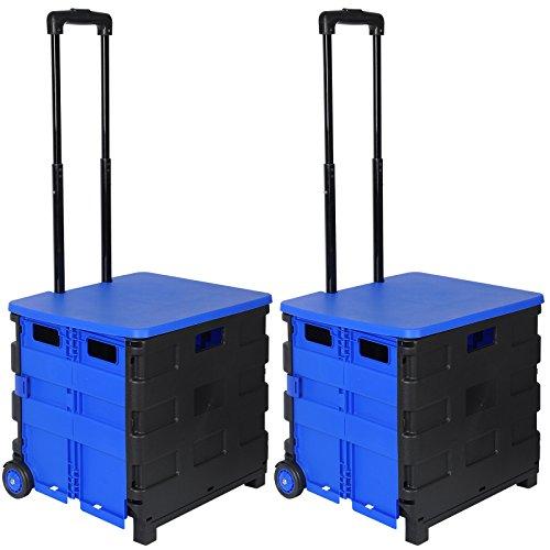 WOLTU EW4802bl 2er Einkaufswagen 64L Einkaufstrolley Einkaufsroller Shopping Trolley klappbar bis 35kg mit Deckel Schwarz-Blau