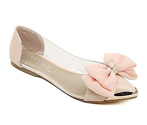 Zehen-sandalen Schleife (Minetom Damen Mädchen Transparente Folie Schuhe Süßen Stil Spitz Zehe Schuhe Mit Bowknot Rosa 38)
