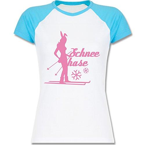 Après Ski - Ski Schneehase - zweifarbiges Baseballshirt / Raglan T-Shirt für Damen Weiß/Türkis