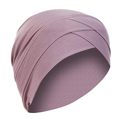 KUDICO Damen Muslimischen Hut Rüsche Chemo Kopfbedeckung Einfarbig Beanie Mütze Turban Krebs Cap Cross Kopftuch Wickelkappe(Lila, one Size) Angora Watch Cap