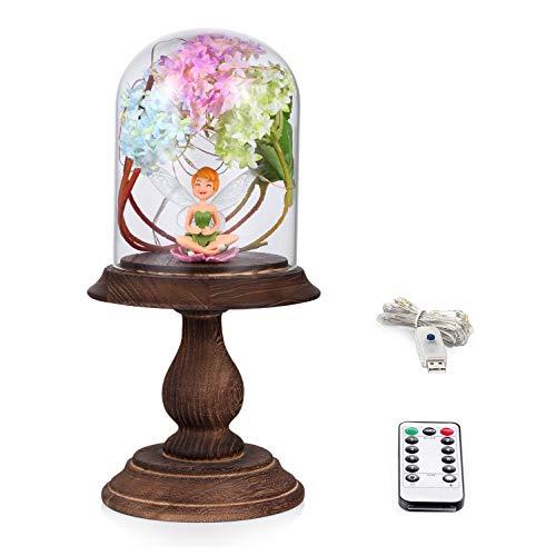 Dome-light-basis (LCCL Schönheit und das Biest Rose Kit, Rose und LED-Licht in Glaskuppel auf Holzsockel für Hauptdekor-Geburtstags-Hochzeits-Valentinstag (Tinker Bell Kit))