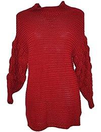 0fbd4d8a328a80 Maxi Pull Dolcevita Donna Rosso Lungo Vestitino a Collo Alto Maniche Lunghe  ed Ampie con Tessitura