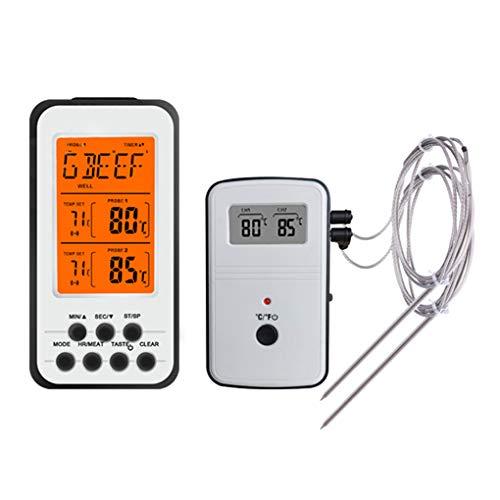 Pegcdu Digitales Kochen Lebensmittel-Fleisch-Thermometer-drahtloser Fern Grill BBQ-Thermometer mit Dual-Probe - Remote Temp Sensor