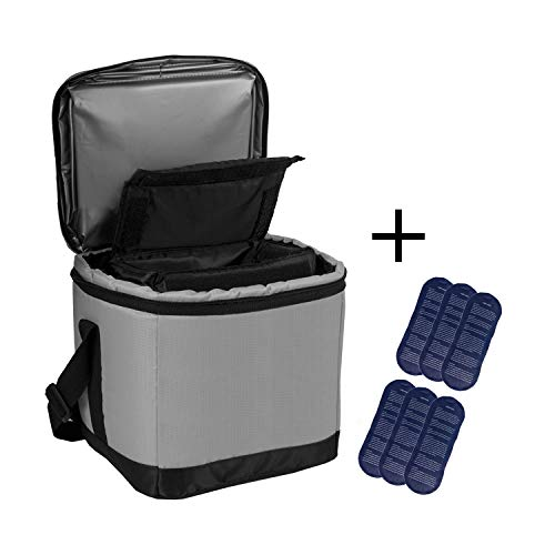 Allcamp borsa termica grande borsa termica borsa organizer diabetica borsa termica multifunzione borsa termica con una borsa staccabile e 6 impacchi di ghiaccio (grigio)