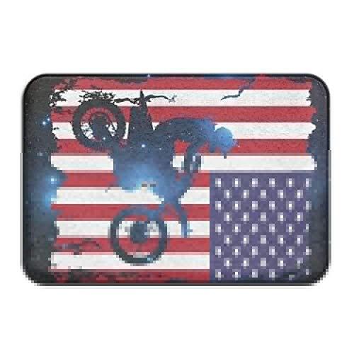 """DDHHFJ Dirt Bike American Flag Non-Slip Indoor/Outdoor Door Mat Rug for Health and Wellness Kitchen Hallway Bath Office Bathroom Doormat 23.6""""x 15.7"""""""