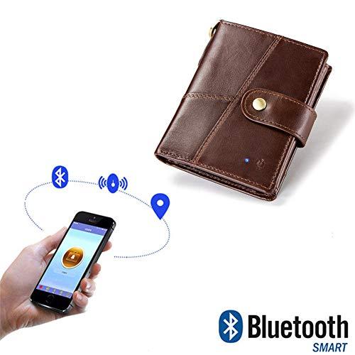 WANGOFUN Monedero Inteligente Antirrobo, Alarma Anti-pérdida con Bluetooth para Hombres Cartera de Cuero con función de fotografía, Regalo para Hombres titulares de Tarjetas