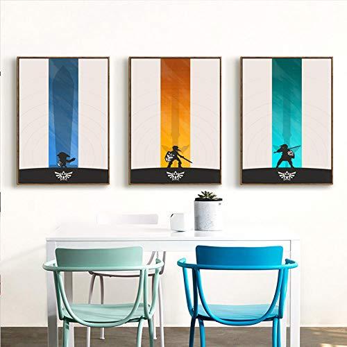wwttoo Zelda Japanischen Spiel Einfache Poster Öl Leinwand Kunstdruck Poster Fototapete Dekoration Kinder Schlafzimmer Dekoration-70x100 cm Kein Rahmen 3 stücke Set