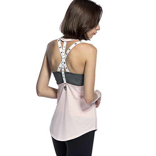 CtopoGo Maglia Lungha da Donna Senza Maniche in Camicia da Corsa per Corriere Yoga Galoppo Set di Reggipetto Rosa/Grigio