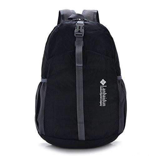 TigerFighting Ultralight Packable Daypack dello zaino Zaino per il campeggio esterno di viaggio in bicicletta Nero