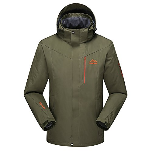 SZTXKJ Männer mit Kapuze Einfarbig Outdoor Wandern und Camping Jacken Fleece Softshellacken(L,armeegrün)