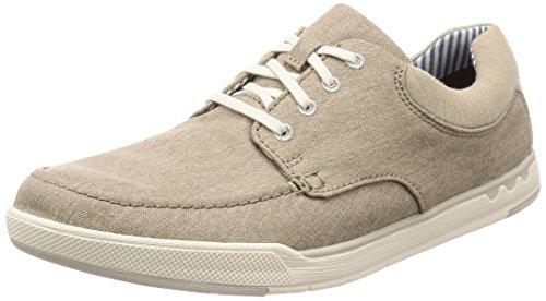 Clarks Step Isle Lace, Zapatos de Cordones Derby para Hombre, Beige Sand Canvas-, 44 EU