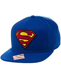 Superman Logo and Text Blue Snapback Hat